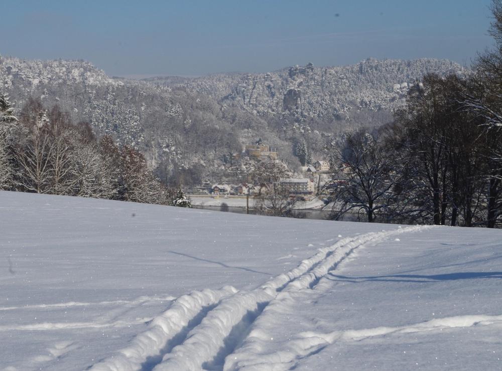 Winterbild von Weißig auf Kurort Rathen